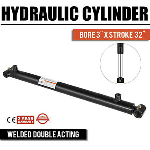 Hydraulic Cylinder 3 Bore 32 Stroke Double Acting Sae 8 Performance Black