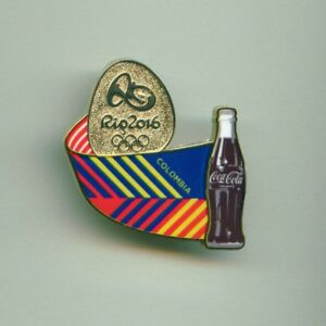 Coca Cola Rio 2016 Olympic Games Sponsor Pin Colombia Stylized Flag