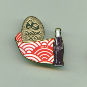 Coca Cola Rio 2016 Olympic Games Sponsor Pin China Stylized Flag