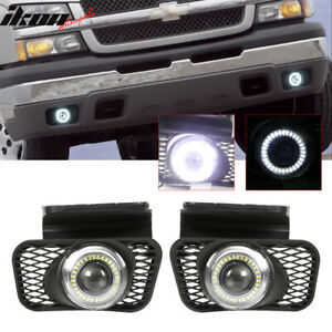 Fits 03 07 Chevy Silverado 02 06 Avalanche Led Halo Projector Bumper Fog Lights