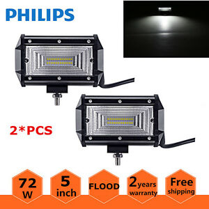 Philips 2x 72w Flood Led Work Light Offroad Rzr Lamp Fog 4wd Jeep Cree 5inch Suv