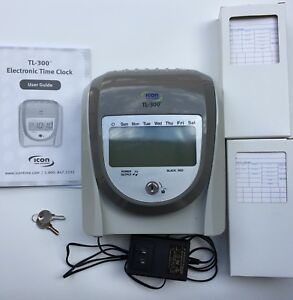 Tl 300 Time Clock Digital Icon Time Systems With Keys Time Cards Power Adapter