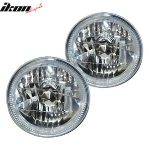 Fits 97 18 Jeep Wrangler Tj Jk 7 Inch Round W White Smd Halo Chrome Headlights