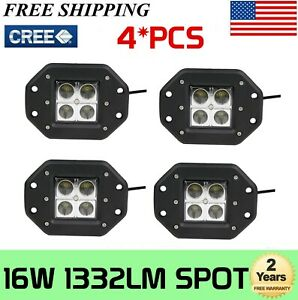 4x 4inch 24w Led Cube Pods Work Light Flush Mount Spot For Backup Driving 4wd