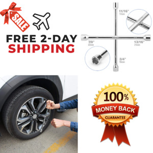 Lug Wrench With 4 Way Heavy Duty Kit Universal 14 Inch Car Tire Repair Tool New