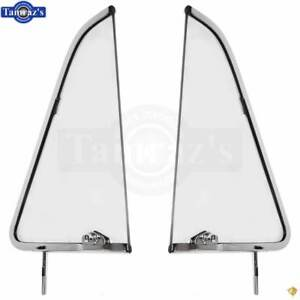 51 54 Chevy Pickup Truck Door Vent Wing Window Clear Glass Chrome Frame Pair