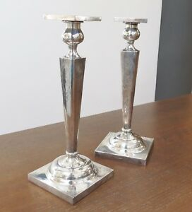 Antique Pair 10 Hand Engraved Sterling Silver Candlestick Holders Non Weighted