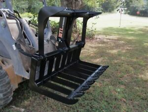 Mtl Attachments Compact Tractor Skid Steer 48 Root Rake Grapple Bucket free Ship