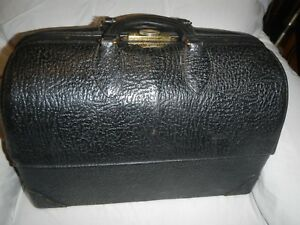 Vintage 50 S Doctors Bag Emdee Schell Black Leather Vg Condition Cantilever