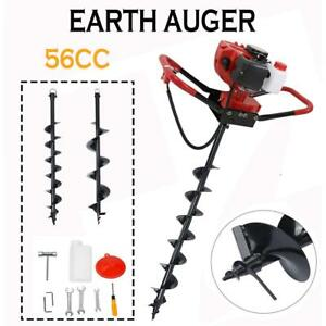 56cc 2 3hp Gas Power Earth One Man Post Fence Hole Digger Drill W 4 8 Bits