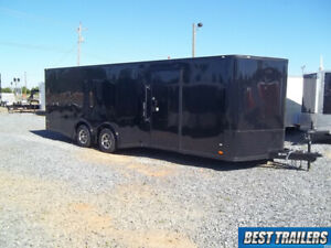 8 X 24 Blackout Enclosed Carhauler Trailer Cargo Black Car Hauler Led 5k Axles