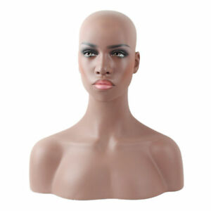 Fiberglass Black Skin Female Head Bust Mannequin For Wig Jewelry And Hat Display