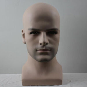 Smooth Design Realistic Fiberglass Male Mannequin Dummy Head For Hat And Wig