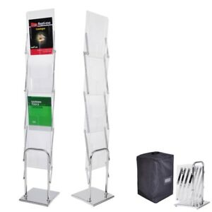 Portable 4 Pocket Pop Up Brochure Holder Magazine Rack Trade Show Clinic Park