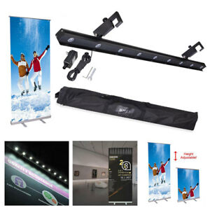 32x79 Retractable Adjustable Roll Up Banner Stand Led Light Kit Trade Show