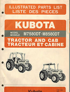 Kubota M7580dt M8580dt Tractor And Cab Parts Manual