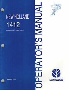 New Holland 1412 Discbine Disc Mower conditioner Operator s Manual new