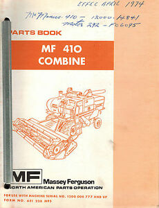 Massey Ferguson 410 Combine Parts Manual Mf 651 228 M95