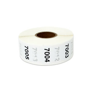 Consecutive Numbers 7001 8000 Stickers Inventory Counting Labels 1 Round 4pk