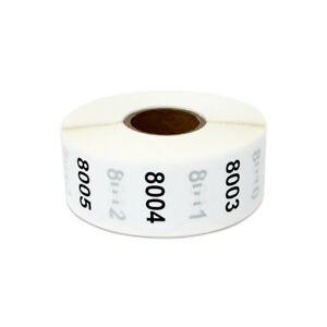 Consecutive Numbers 8001 9000 Stickers Inventory Counting Labels 1 Round 4pk