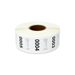 Consecutive Numbers 0001 1000 Stickers Inventory Counting Labels 1 Round 4pk
