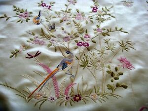 Exquisite Antique Vintage Chinese Hand Embroidered Silk Piano Shawl Tablecloth