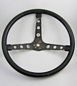 1960 s Vintage Superior Steering Wheel 14 Black On Black 3 Bar 3 Hole