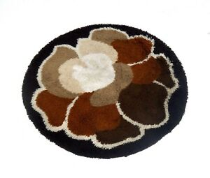 Rare Round Original Abstract Vintage Danish Modern Wool Carpet Rug Shag 60s