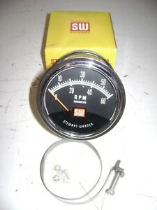 Old Vintage Antique Stewart warner Tachometer 6000 Rpm Green Line New Stock