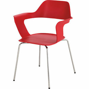 Mayline Safco Bandi Shell Stack Chairs Set Of 2 Red Model 4275rd