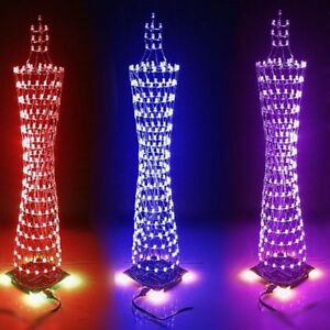 2x Colorful Light Cube Electronic Tower Music Led Display Remote Control Diy Kit