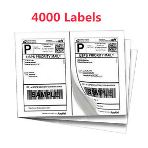 8 5x5 5 4000 Half sheet Shipping Labels Self Adhesive For Ups Fedex Paypal