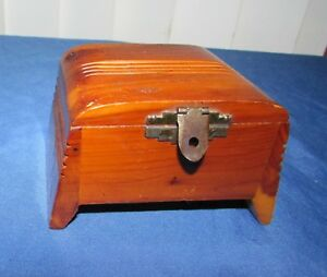 Vintage Antique Small Art Deco Footed Wooden Cigarette Box