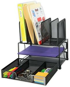 Mesh Desk Organizer W Sliding Drawer Double Tray And 5 Upright Sections Black