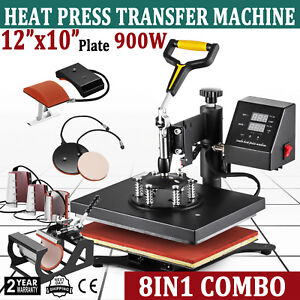 8in1 12 X 10 Heat Press Machine Digital Sublimation T shirt Mug Plate Hat