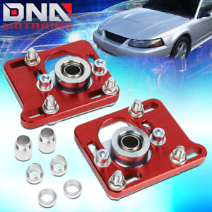 2 5 Aluminum Camber Caster Plates Coilover Alignment For 94 04 Mustang Red