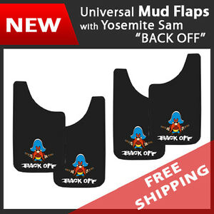 Set Of 4 Universal Fit Mud Flaps Splash Guards Yosemite Sam Backoff 11 X 19
