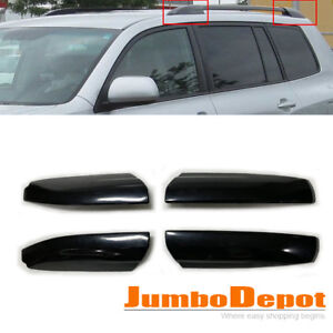 4x Black Roof Rack Cover Rail End Shell Replacement Fit Toyota Highlander 08 13