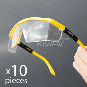 Safety Glasses Clear Lens Yellow Frame Top Side Shield Adjustable 10 Pairs Lot