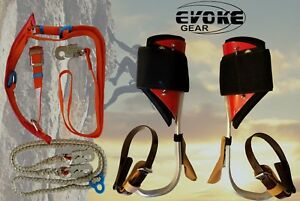 Tree Climbing Spike Set Aluminum Pole Climbing Spurs Harness Kit Lanyard Evoke