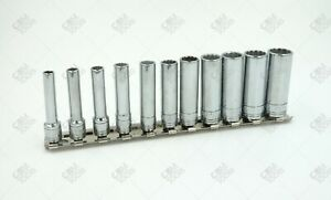Sk Hand Tools 1350 11pc 1 4 Dr 12pt Deep Metric Chrome Socket Set