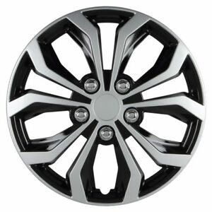 14 Inch Hubcaps Spyder Performance Black Silver Wheel Covers Set 553 4pcs