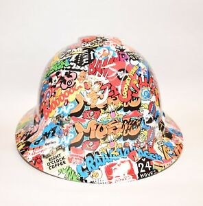 Custom Ridgeline Widebrim Hard Hat Hydro Dipped In American Sticker Bomb