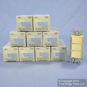 10 New Leviton Ivory Decora Triple Rocker Wall Light Switches Triplex 15a 1755 i