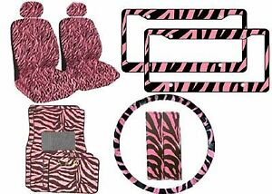 11 piece Animal Print Automotive Interior Gift Set 2 Universal fit Zebra