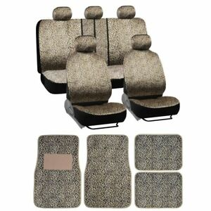 16pc Cheetah Animal Stripes Seat Covers And Front And Rear Floor Mats And Dic