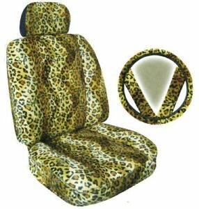 2 Tan Brown Leopard Universal fit Animal Print Low Back Front Bucket Seat