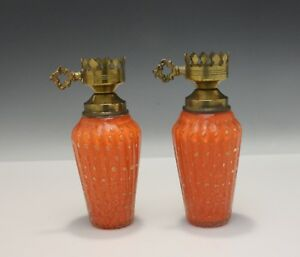 Pair Of Vintage Mid Century Murano Italian Art Glass Lamps Orange With Gold
