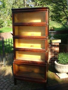 Antique Globe Wernicke 5 Stack Barrister Mahogany Bookcase With Brass Fittings