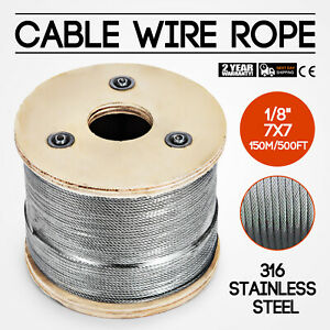Cable Railing Type 316 Stainless Steel Wire Rope Cable 1 8 7x7 500 Ft Reel